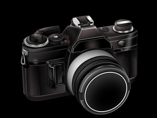 SLR camera black isolated