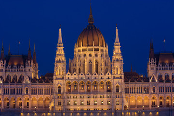 Budapest Parliament in Hungary at evening blue hour