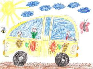 Children drawing bus trip