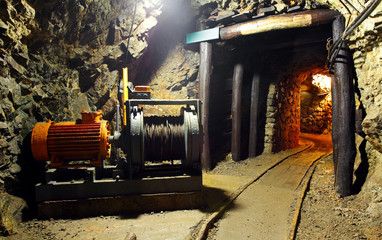 Historical gold, silver, copper mine with machine