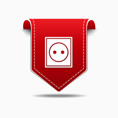 Plug Sign Red Vector Icon Design