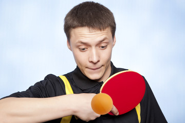 Man playing ping pong