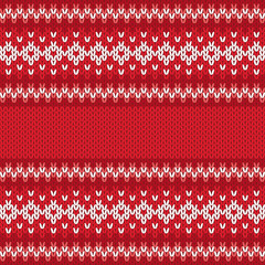 Winter Geometric Ornament Seamless Pattern in Red and White from