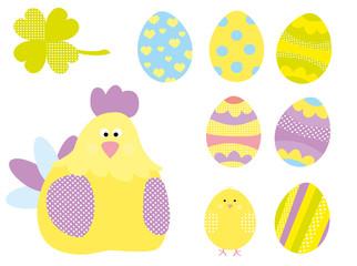 kurczak i pisanki- zestaw dekoracji dla dzieci/wektory
