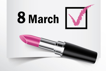 Tick box with lipstick, 8 March concept of woman choice