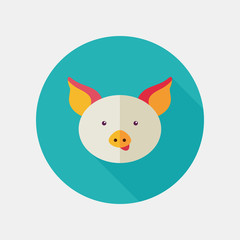 Pig flat icon with long shadow