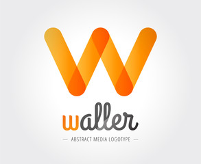 Abstract W-letter vector logo template for branding and design