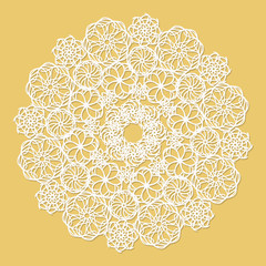 White lace serviette on yellow background