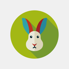Rabbit flat icon with long shadow