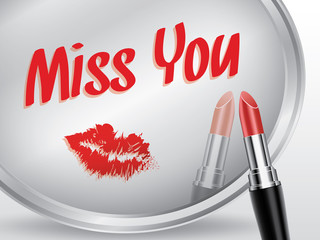 Miss you written on mirror by lipstick, vector