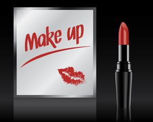 Make up written on mirror by lipstick, vector