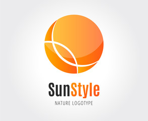 Abstract sun vector logo template for branding and design