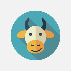 Cow flat icon with long shadow