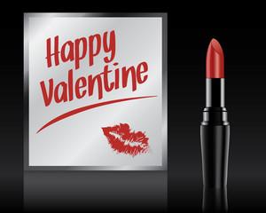 Happy Valentine written on mirror by lipstick, vector