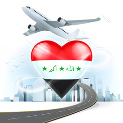 travel and transport concept with Iraq flag on heart