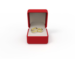 Red box with two еngagement gold rings on a white background 3d