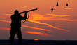 the silhouette of a hunter on sunset background - 78748499