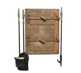 vintage stove door and fireplace  irons