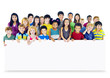 Multi-Ethnic Group Children Empty Banner Concept