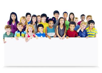 Multi-Ethnic Group Children Empty Banner Concept