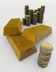 lingotti d'oro e monete, economia