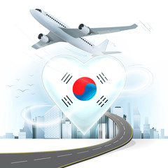 travel and transport concept with South Korea flag on heart