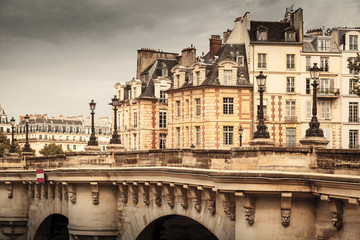 Paris, France. Pont Neuf vintage stylized photo
