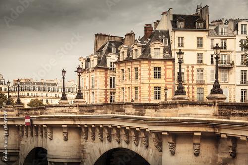 Paris, France. Pont Neuf vintage stylized photo - 78749096