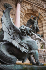 Fontaine Saint-Michel in Paris, France. Popular landmark