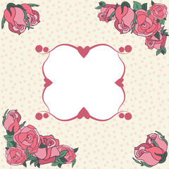 Frame for your text decorated with rose.
