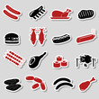 meat food color stickers and symbols set eps10