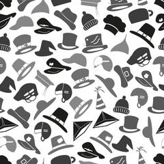 gray hats icons set seamless pattern eps10