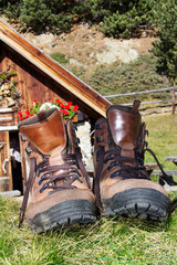 Hiking shoes with mountain Impressions