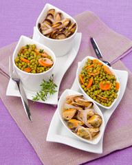 mussels with green lentils