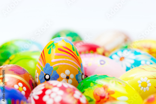Leinwandbild Motiv Handmade Easter eggs collection. Spring patterns art, unique.