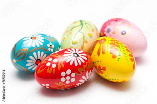 Papiers peints Ouf Hand painted Easter eggs on white. Spring patterns art, unique.