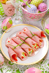ham rolls stuffed with cheese and vegetables for easter breakfas