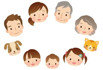 三世代家族 顔 コピースペース
