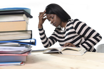 black African American student girl studying in stress