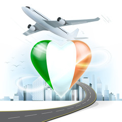 travel and transport concept with Ireland flag on heart