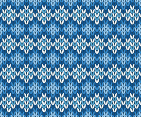 Blue and White Contrast Knitted Seamless Pattern from Abstract