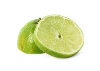 lime, Lemon slice isolated on white background