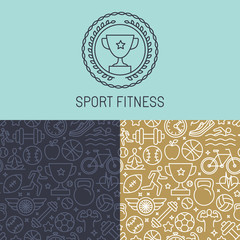 Vector sport badge and seamless pattern