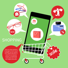 Online shopping cart with smartphone