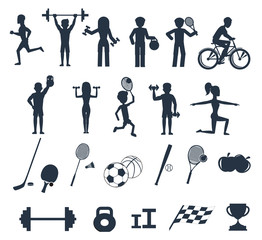 Exercises with weights and warm-up icons