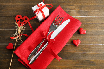 Festive table setting for Valentines Day