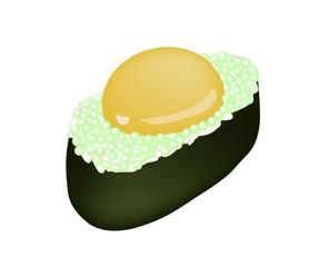 Green Tobiko Sushi with Uzura or Raw Quail Egg