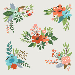 floral vintage vector collection