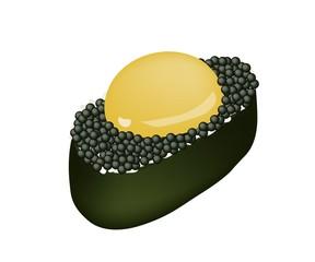Black Tobiko Sushi with Uzura or Raw Quail Egg