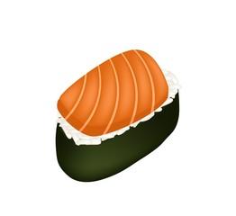 Salmon Sushi or Salmon Nigiri Isolated on White